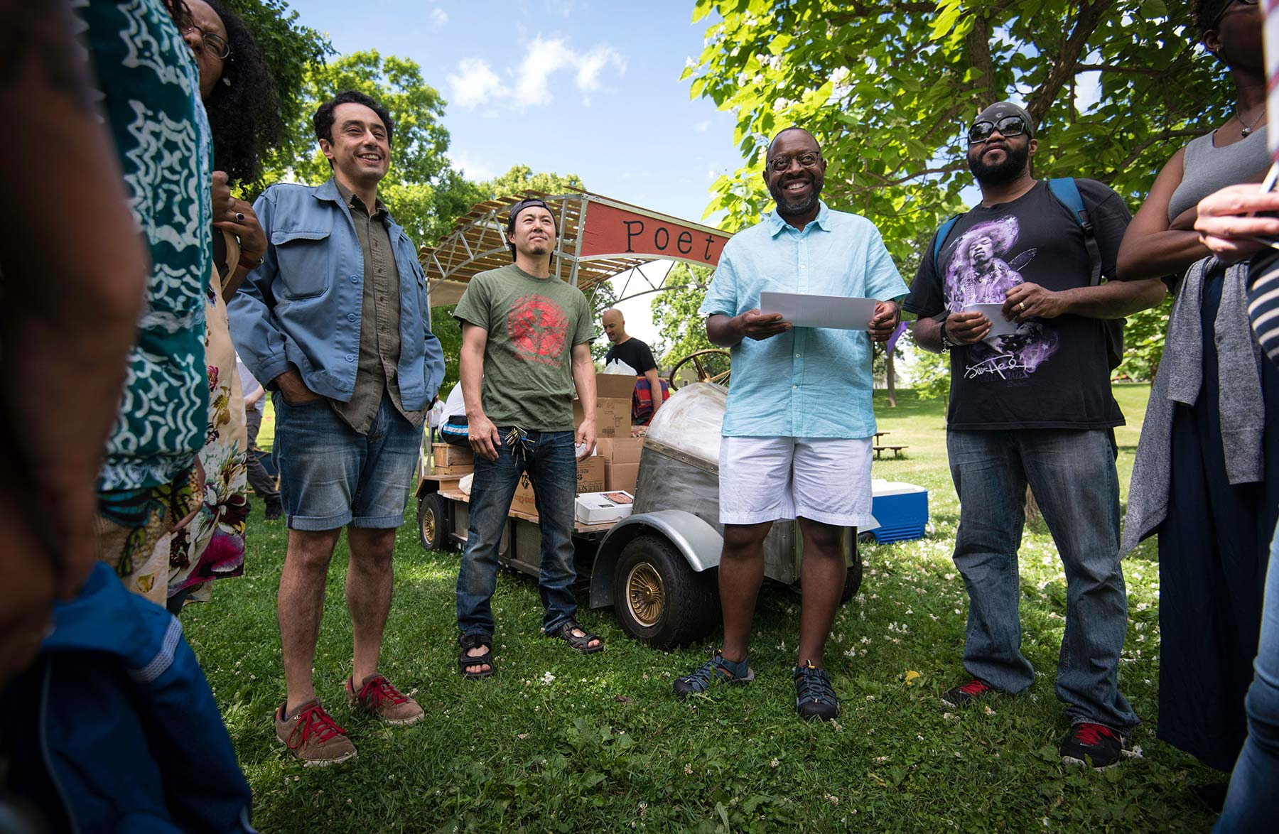 Poets gather for the Poetry and Pie Picnic by Artist Molly Van Avery. Photo Credit: Bruce Silcox