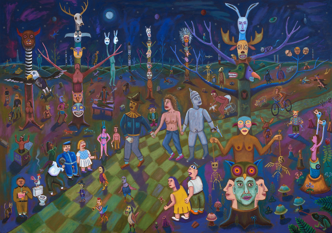 Jim Denomie Painting: Oz, the Emergence, 2017, oil on canvas