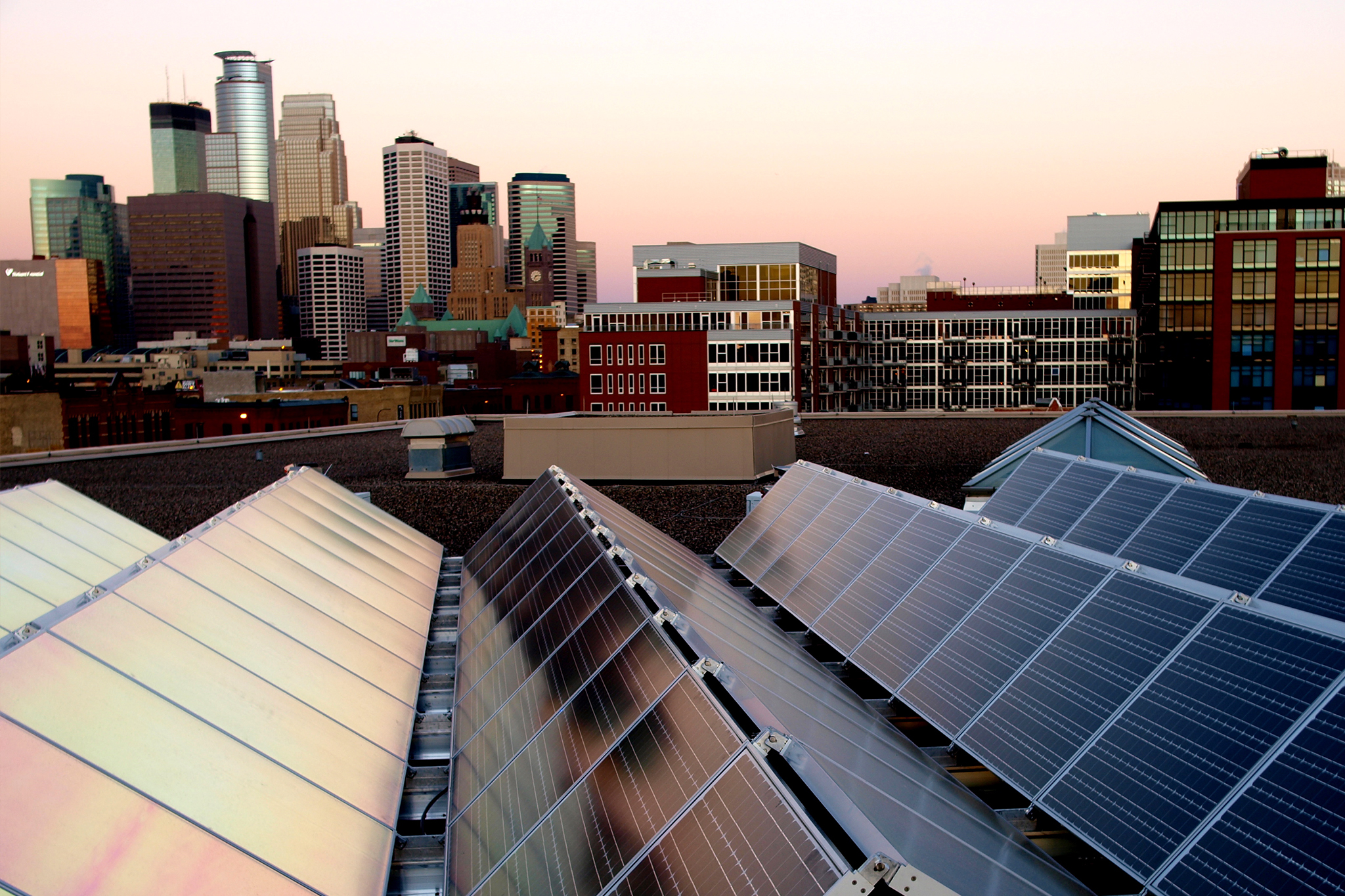 Skyline of Minneapolis with solar panels.