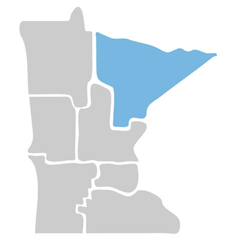 outline of Minnesota with the north east area shaded in