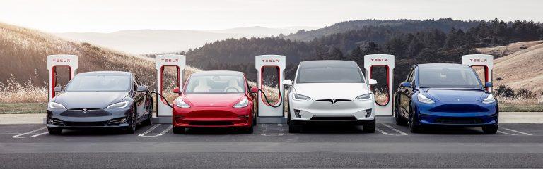 Four Teslas charging
