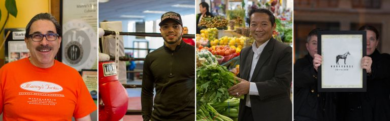 Credit NDC, featuring supported businesses Manny's Tortas, Element Boxing and Fitness, Hmong Village, and Workhorse Coffee Bar.